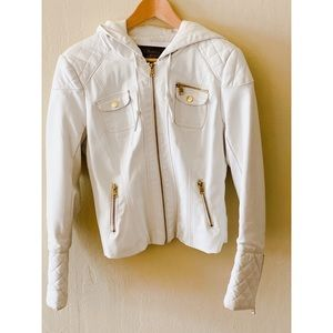 Ci Sono Faux White Hooded Leather Jacket